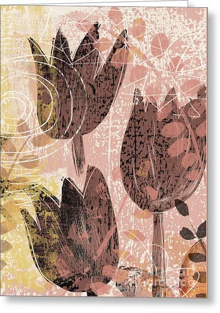 Floral Digital Art Digital Art Greeting Cards - Tulip Ramble Greeting Card by Lynn Nafey