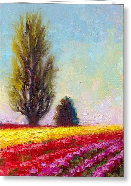 Green And Yellow Greeting Cards - Tulip Sentinels Greeting Card by Talya Johnson