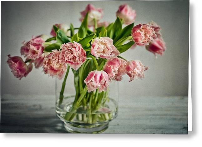 Soft Pastels Greeting Cards - Tulip Still Life Greeting Card by Nailia Schwarz