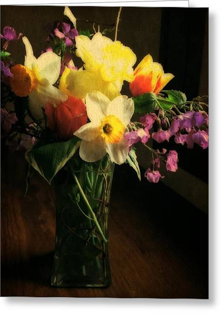 Glass Vase Greeting Cards - Tulip Time Bouquet Greeting Card by Michelle Calkins