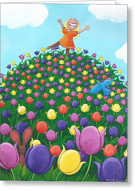 Easter Card Greeting Cards - Tulip Time Painting Greeting Card by Christy Beckwith
