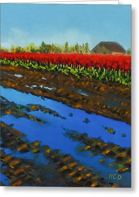 Puddle Pastels Greeting Cards - Tulip Tracks Greeting Card by Marie-Claire Dole