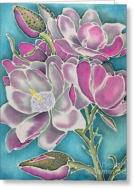 Blossoming Tapestries - Textiles Greeting Cards - Tulip Tree Greeting Card by Rebecca Wachtman