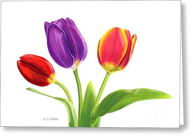Yellow Leaves Drawings Greeting Cards - Tulip Trio Greeting Card by Sarah Batalka