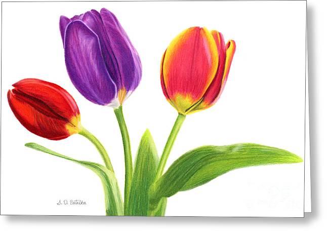 Tulip Trio Greeting Card by Sarah Batalka