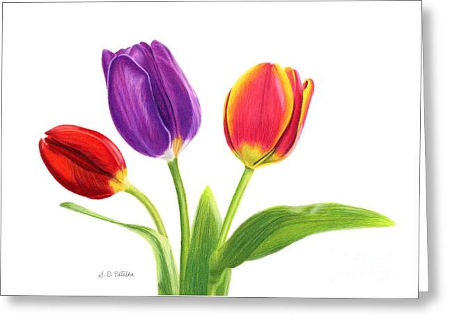 Easter Flowers Drawings Greeting Cards - Tulip Trio Greeting Card by Sarah Batalka