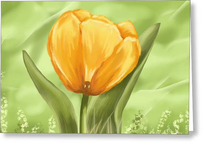 Digital Flower Greeting Cards - Tulip Greeting Card by Veronica Minozzi