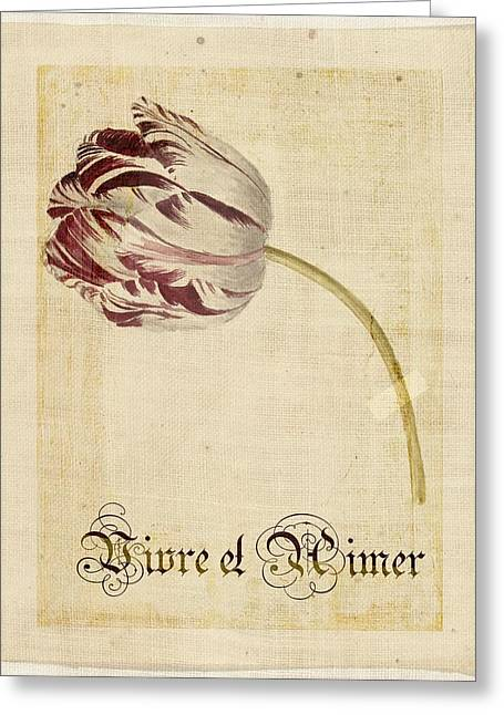 Textured Floral Greeting Cards - Tulip - Vivre et Aimer s02t03tr Greeting Card by Variance Collections