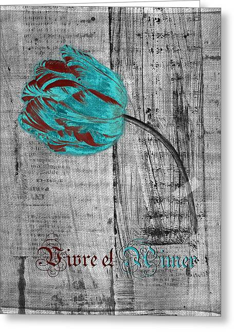 Textured Floral Greeting Cards - Tulip - Vivre et Aimer s12ab4t Greeting Card by Variance Collections