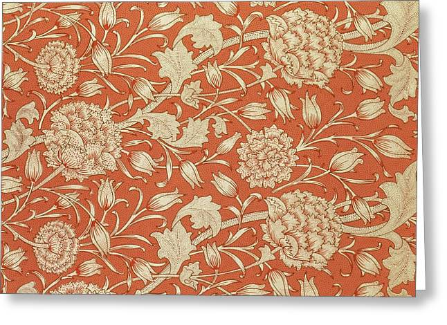 Print Tapestries - Textiles Greeting Cards - Tulip wallpaper design Greeting Card by William Morris
