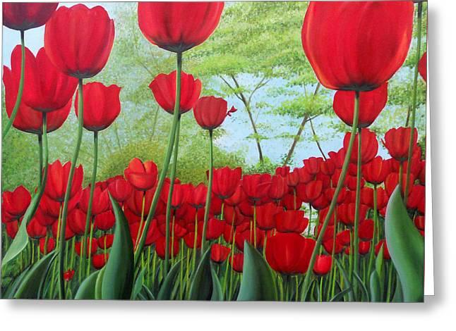 Tulipanes  Greeting Card by Angel Ortiz