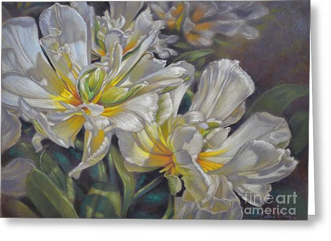 Gardens Pastels Greeting Cards - Tulipomania 4 Exotic Emperor Greeting Card by Fiona Craig