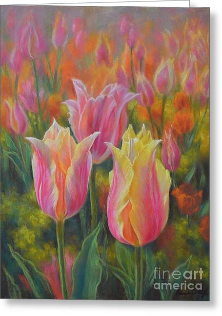 Spring Pastels Greeting Cards - Tulipomania 6 Blushing Beauties Greeting Card by Fiona Craig