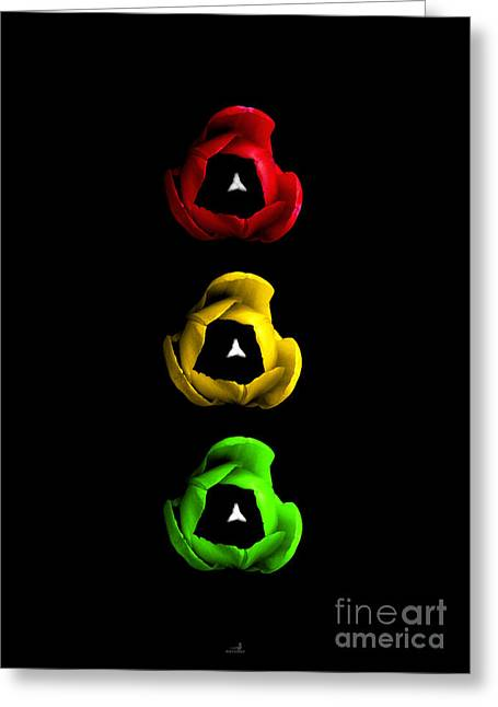 Traffic Pyrography Greeting Cards - Tulips - Traffic Lights Greeting Card by ARTSHOT  - Photographic Art