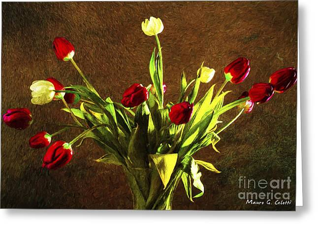 Abstract Digital Pyrography Greeting Cards - Tulips 1 Greeting Card by Mauro Celotti