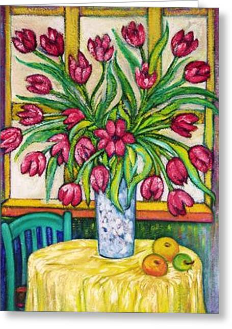 Gay Art Framed Giclee On Canvas Greeting Cards - Tulips   2 Greeting Card by Gunter  Hortz