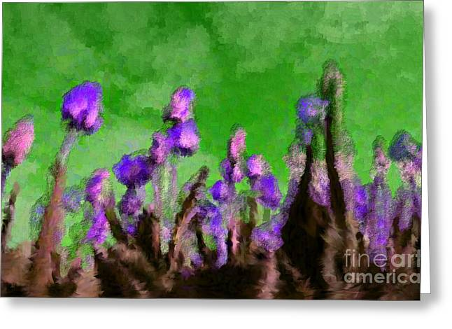 Discrimination Digital Art Greeting Cards - Tulips Abound Green Purple Greeting Card by Holley Jacobs