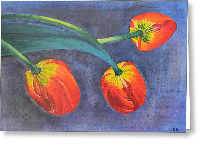 Tulips Greeting Card by Adel Nemeth