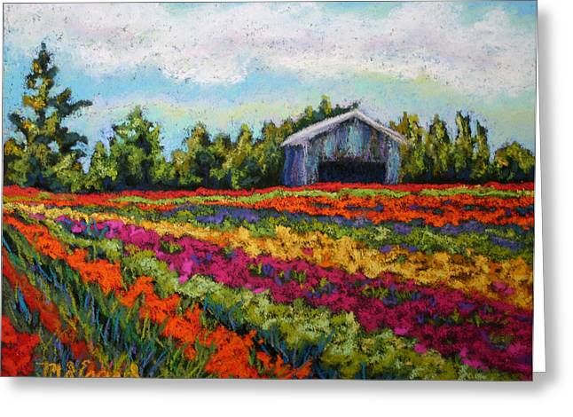 Oregon Pastels Greeting Cards - Tulips and Blue Barn Greeting Card by Mary Jane Erard