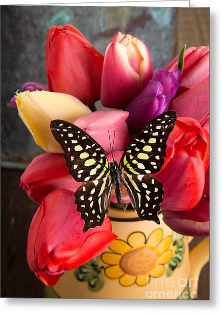 Blooms Butterflies Greeting Cards - Tulips and Butterflies Greeting Card by Edward Fielding
