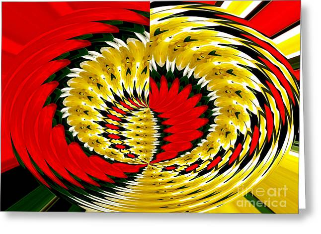 Abstract Rose Oval Greeting Cards - Tulips and daffodils Polar Coordinates Effect Greeting Card by Rose Santuci-Sofranko