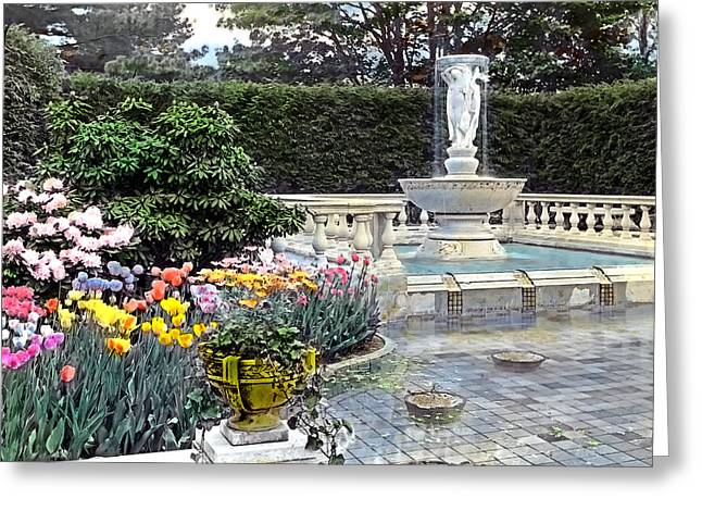 Countryside Greeting Cards - Tulips and Fountain Greeting Card by Terry Reynoldson