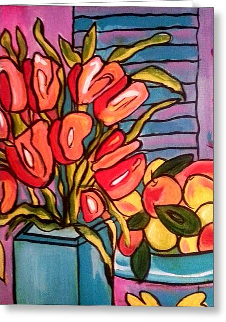 Flower Still Life Prints Greeting Cards - Tulips and Fruit Greeting Card by Nikki Dalton