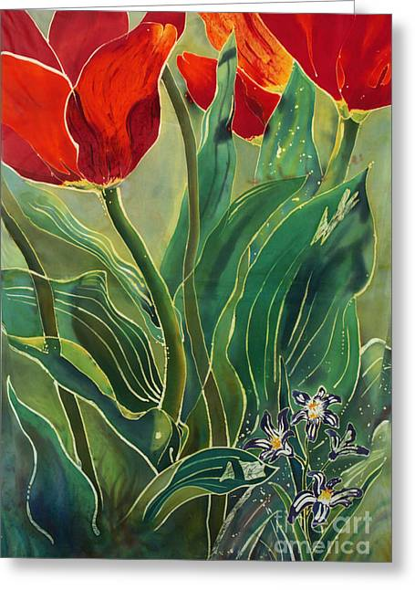 Artwork Tapestries - Textiles Greeting Cards - Tulips and Pushkinia Greeting Card by Anna Lisa Yoder