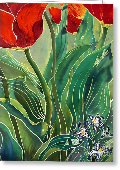 Artwork Tapestries - Textiles Greeting Cards - Tulips and Pushkinia Detail Greeting Card by Anna Lisa Yoder