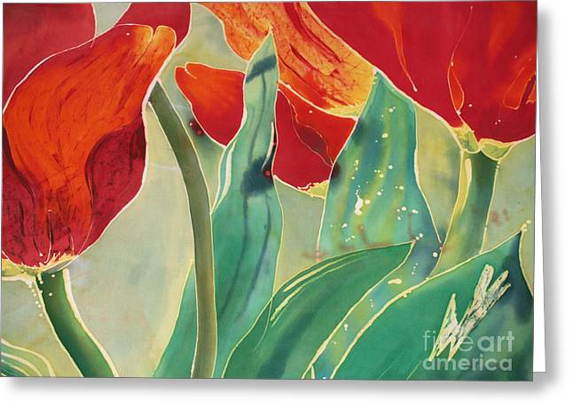 Artwork Tapestries - Textiles Greeting Cards - Tulips and Pushkinia Upper Detail Greeting Card by Anna Lisa Yoder