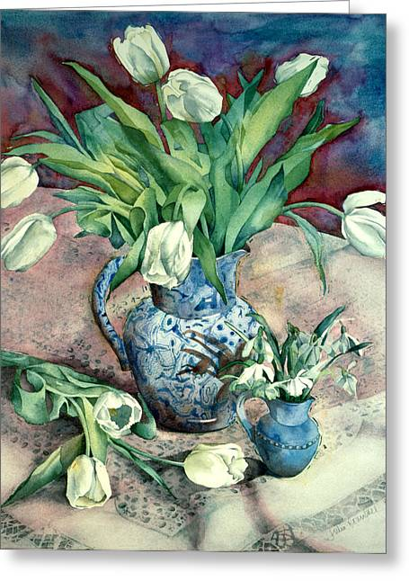 """indoor"" Still Life Greeting Cards - Tulips And Snowdrops Greeting Card by Julia Rowntree"