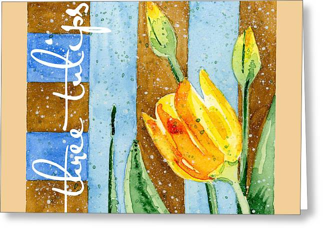 Ann Paintings Greeting Cards - Tulips and Stripes Greeting Card by Annie Troe