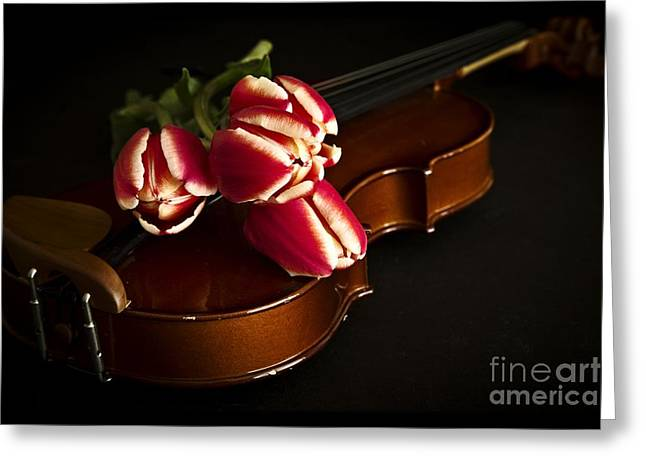 Floral Still Life Greeting Cards - Tulips and Violin Greeting Card by Edward Fielding