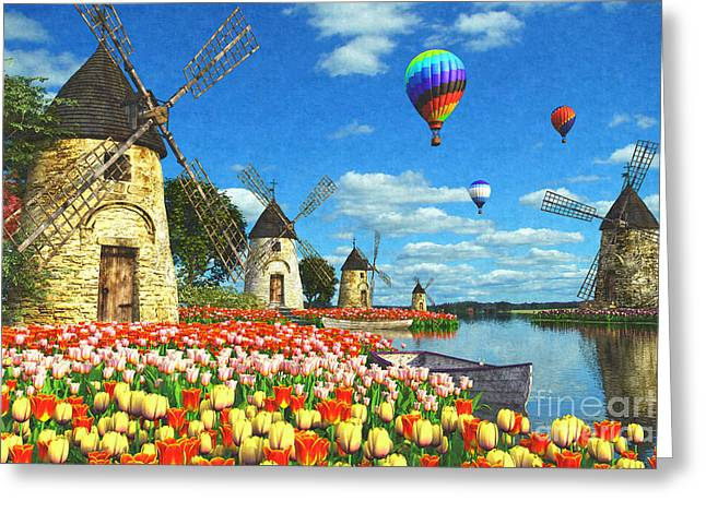 Balloon Greeting Cards - Tulips and Windmills Greeting Card by Dominic Davison