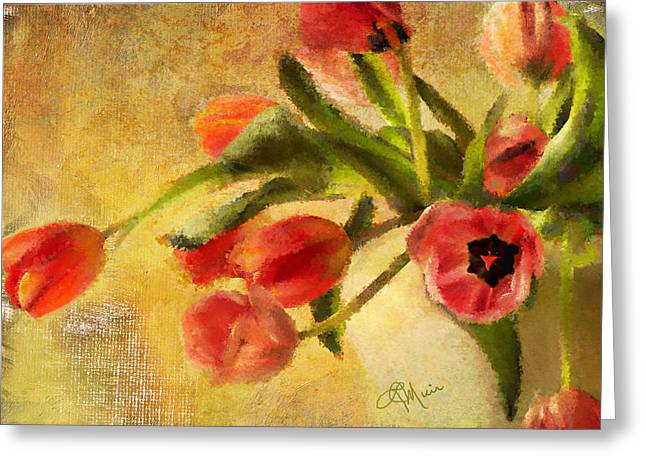Bathroom Prints Mixed Media Greeting Cards - Tulips are Spring Greeting Card by Linda Muir