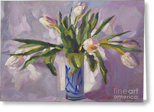 White Tulip Greeting Cards - Tulips At Springtime Greeting Card by David Lloyd Glover
