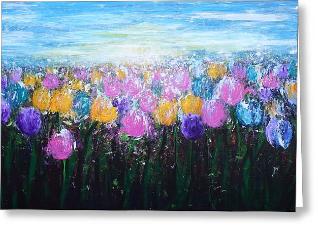 Sun Rays Paintings Greeting Cards - Tulips at Sunrise Greeting Card by Kume Bryant