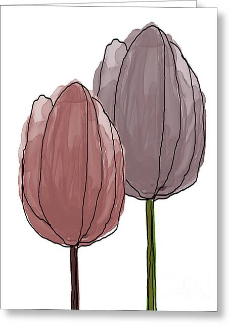 Spring Bulbs Mixed Media Greeting Cards - Tulips Collection III Greeting Card by Mira Dimitrijevic