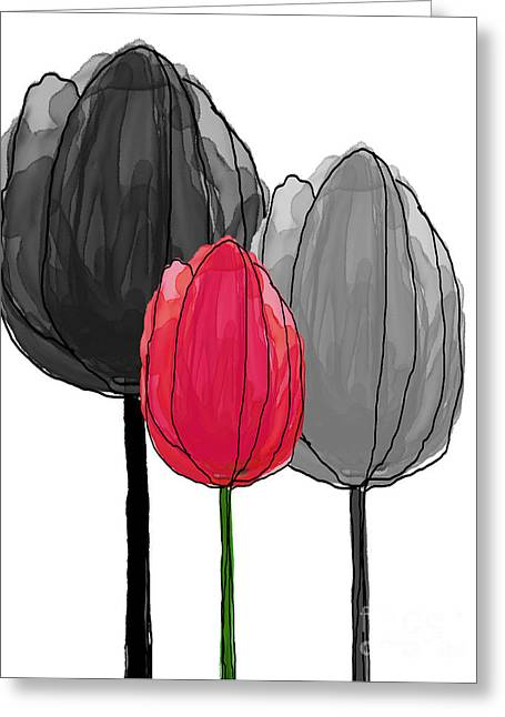 Spring Bulbs Mixed Media Greeting Cards - Tulips Collection IV Greeting Card by Mira Dimitrijevic