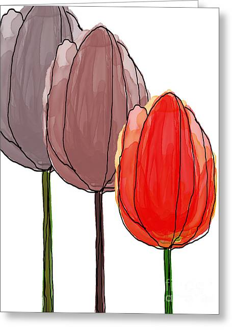 Spring Bulbs Mixed Media Greeting Cards - Tulips Collection IX Greeting Card by Mira Dimitrijevic