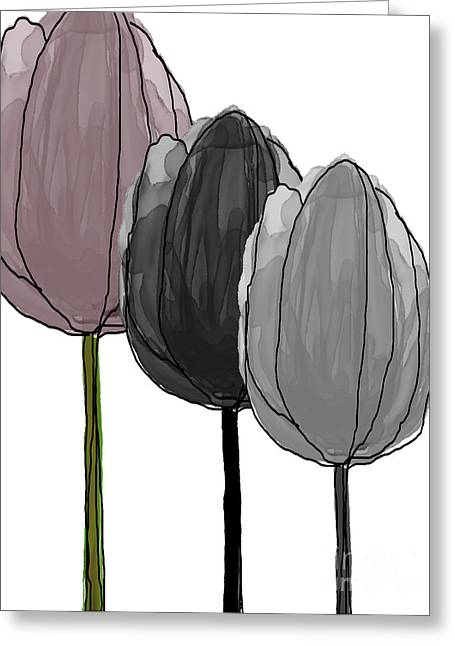 Spring Bulbs Mixed Media Greeting Cards - Tulips collection Greeting Card by Mira Dimitrijevic