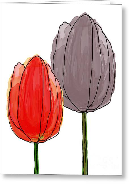 Spring Bulbs Mixed Media Greeting Cards - Tulips Collection VI Greeting Card by Mira Dimitrijevic