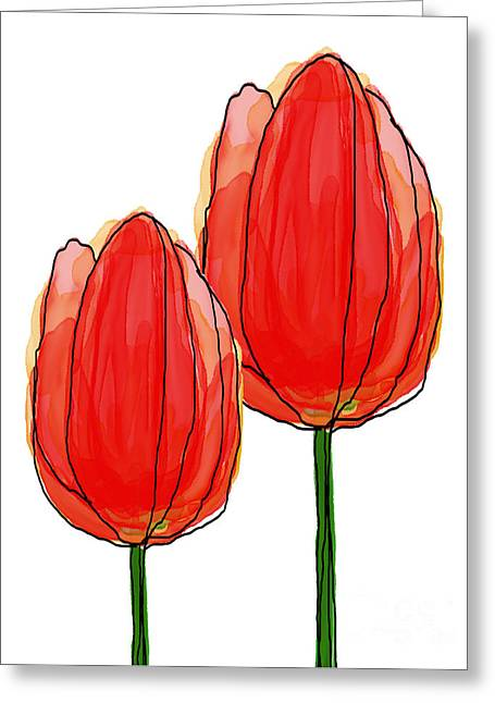 Spring Bulbs Mixed Media Greeting Cards - Tulips Collection VII Greeting Card by Mira Dimitrijevic