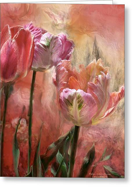 Parrot Art Print Greeting Cards - Tulips - Colors Of Love Greeting Card by Carol Cavalaris