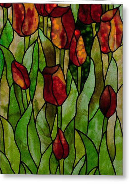 Art Nouveau Glass Art Greeting Cards - Tulips Greeting Card by David Kennedy