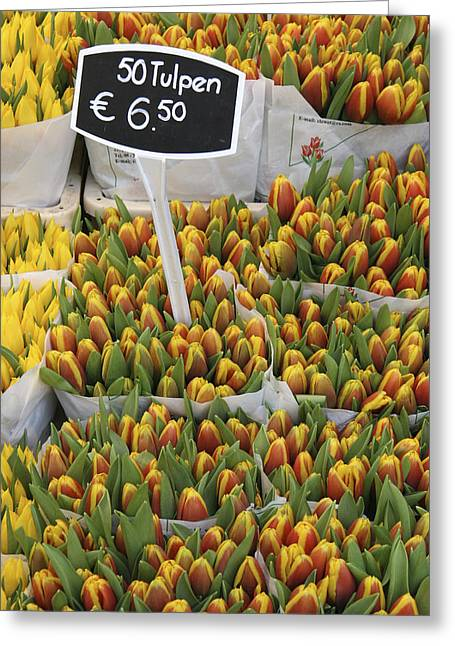 Amsterdam Market Greeting Cards - Tulips For Sale In Market, Close Up Greeting Card by Mark Thomas