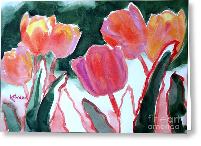 Breezy Greeting Cards - Tulips For the Love of Patches Greeting Card by Kathy Braud