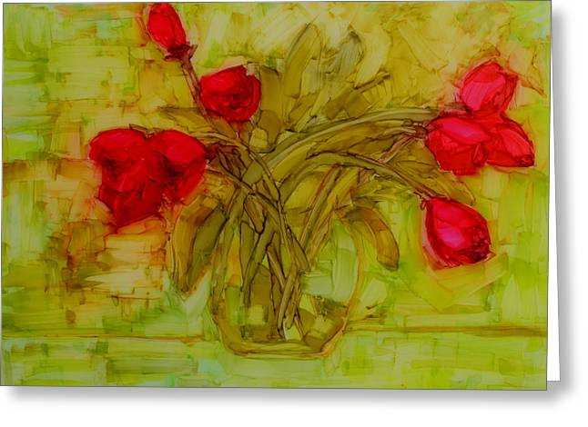 Interior Still Life Drawings Greeting Cards - Tulips in a glass vase Greeting Card by Patricia Awapara