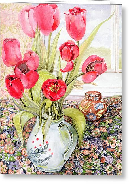 Water Jug Greeting Cards - Tulips in a Rye Jug Greeting Card by Joan Thewsey