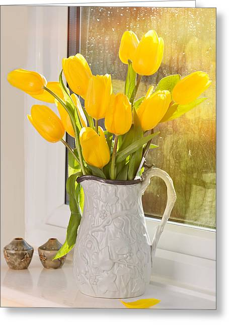 Flower Display Greeting Cards - Tulips In Antique Jug Greeting Card by Amanda And Christopher Elwell